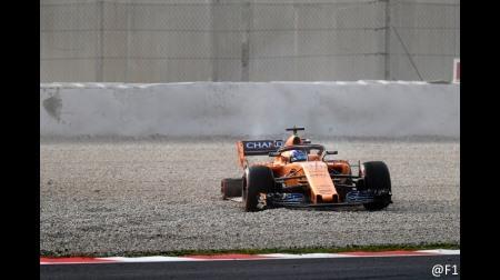 マクラーレンのアロンソがコースアウト@2018F1バルセロナテスト初日