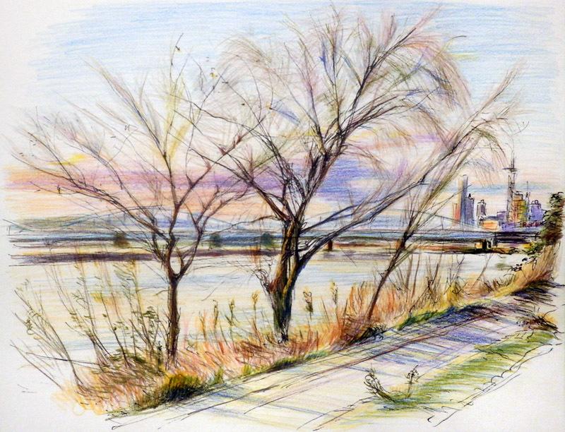 川沿いの遠景、近景