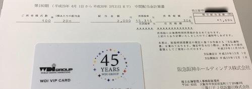 阪急阪神ホールディングス 2018年3月期中間配当金