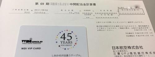 日本航空 2018年3月期 中間配当金