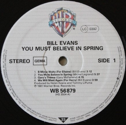 Bill Evans You Must Believe In Spring Warner Bros. WB 56879 -1