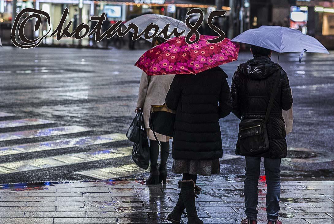 2018年初雨の四丁目交差点 20180109