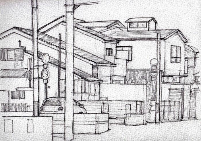 成田町の街角 デッサン (700x493)