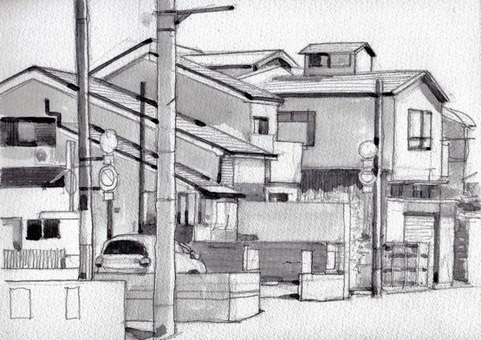 成田町の街角 グリザイユ画面。 (700x495)