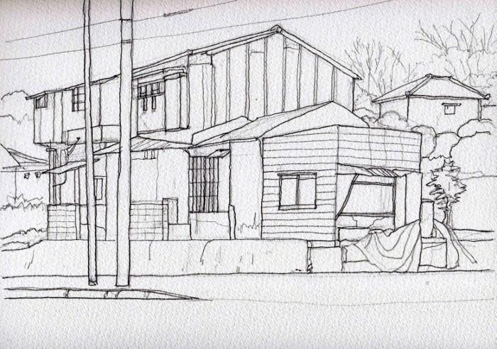 茨木の民家 デッサン (700x492)