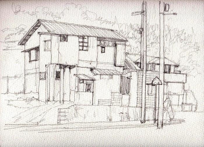 茨木の民家3 デッサン (700x504)