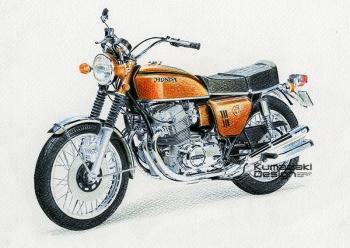 「バイクの絵」 Honda DREAM CB750 FOUR 色鉛筆画