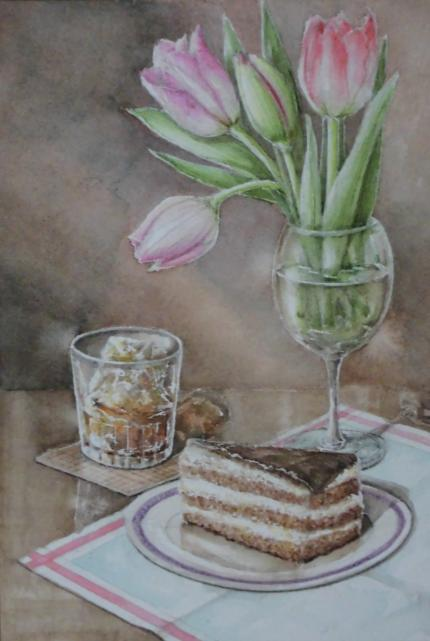 チューリップとチョコケーキ 1802