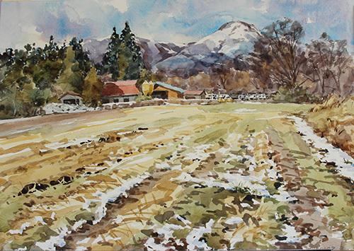 牧舎と茶臼山2
