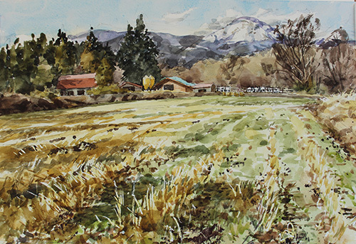 牧舎と茶臼山1