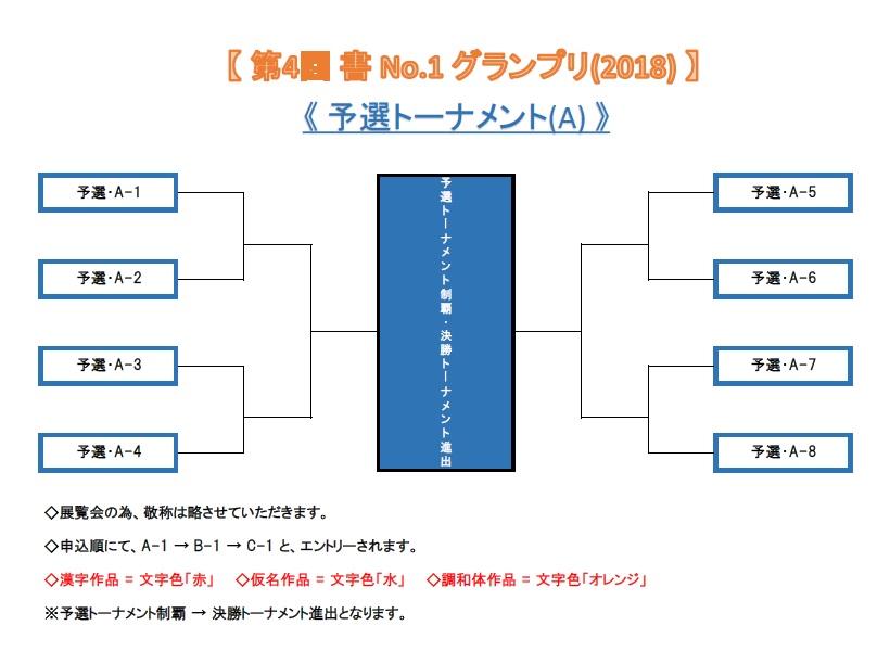 【 第4回 書 No-1 グランプリ(2018) 予選トーナメント・A (仮) 】