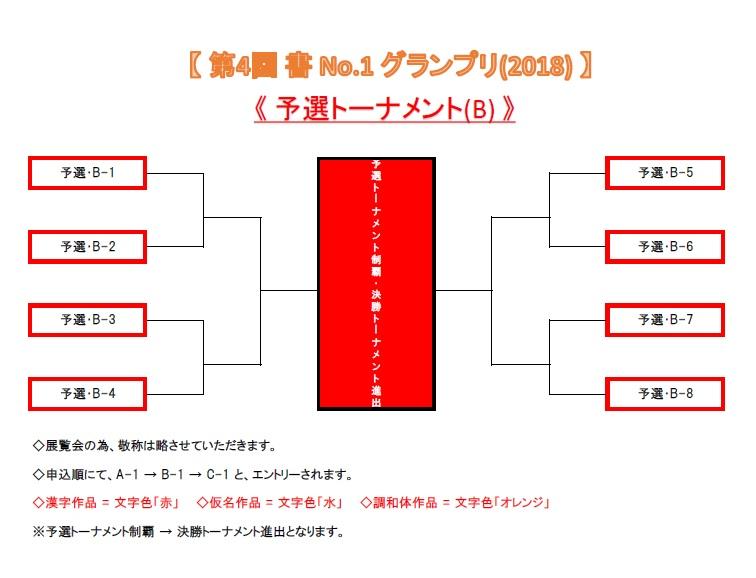 【 第4回 書 No-1 グランプリ(2018) 予選トーナメント・B (仮) 】