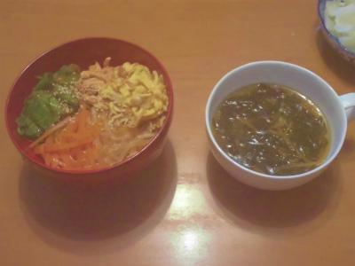 1.15肉なしビビンバとワカメスープ