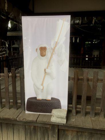 猿田彦神社・舞殿の白猿_H29.06.27撮影