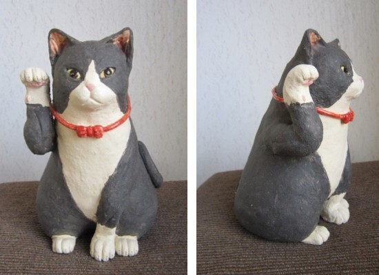 タキシードの招き猫-すず音窯-かわいい陶器の置物#陶芸作家めいこ
