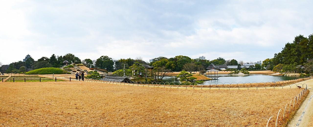 20180106 後楽園今日の茶畑前から眺めた園内ワイド風景 (2)