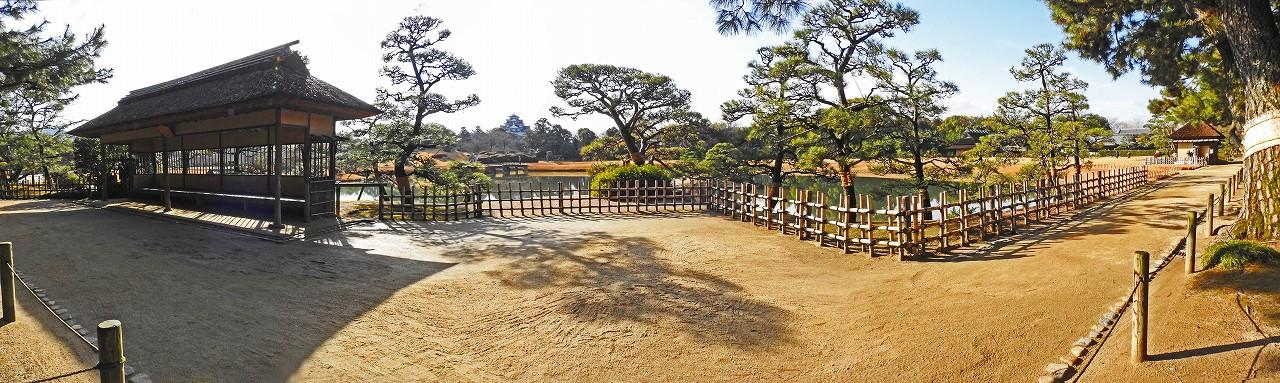 20180118 後楽園今日の園内松林から観光定番位置越しに眺めたワイド風景 (1)