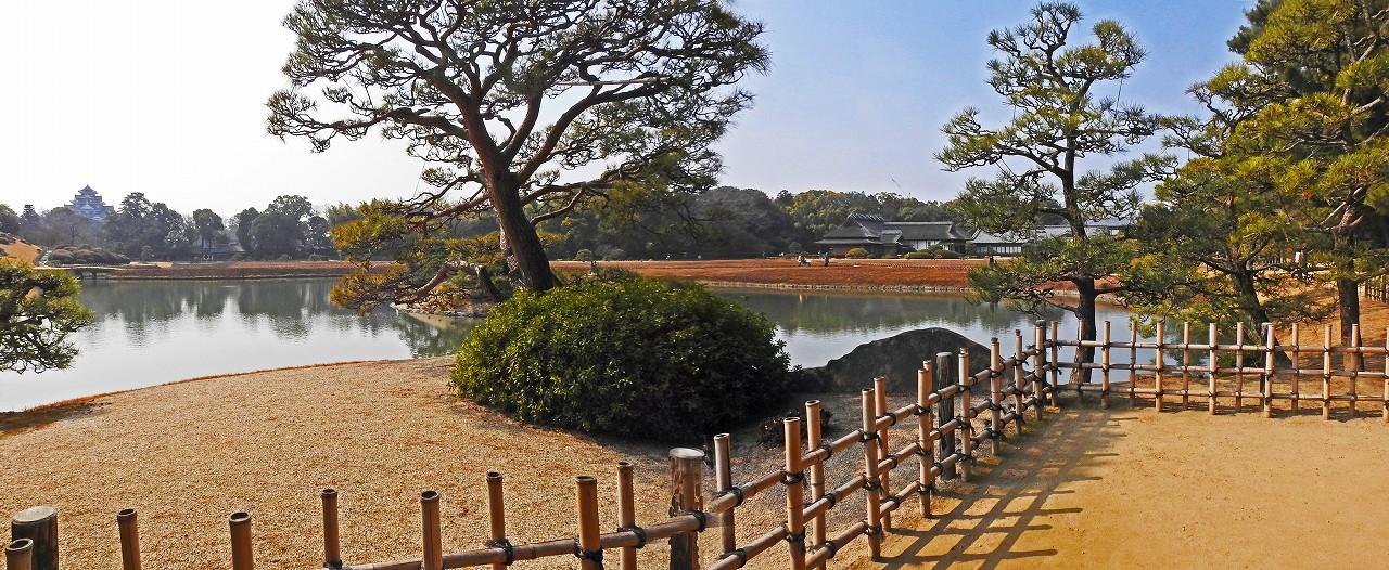 20180224 後楽園今日の観光定番位置から沢の池越しに眺めた園内ワイド風景 (1)