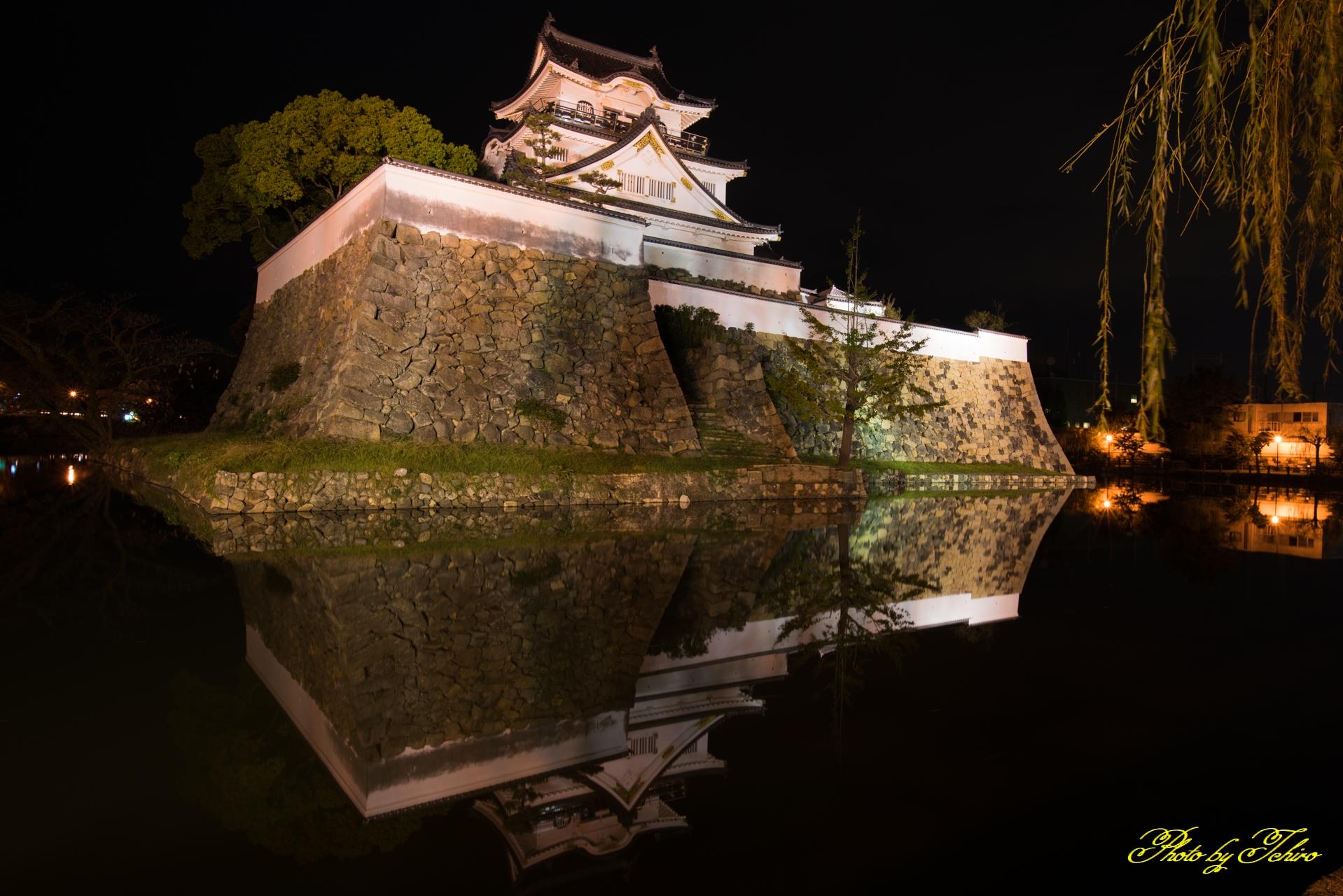 夜の岸和田城