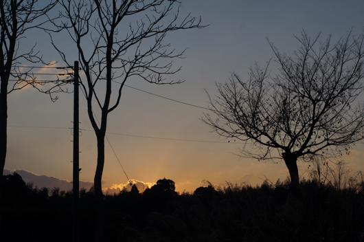 房総フィールド 冬の夕日