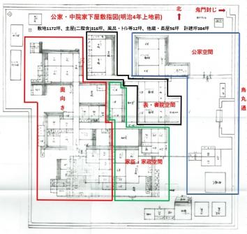 中院家下屋敷指図(明治4年)_色分け