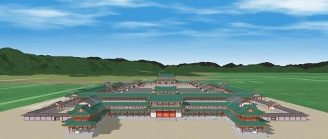 京都盆地と朝堂院