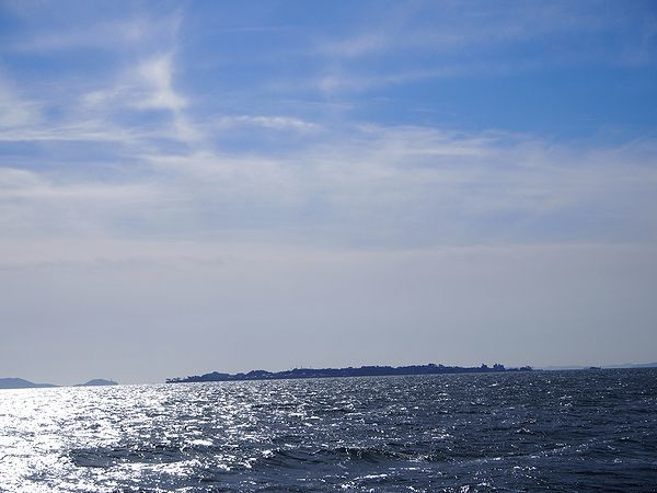 日間賀島が見えた