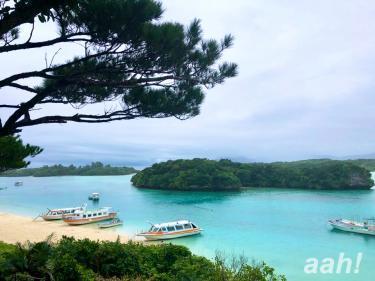 日本百景の川平湾。雨の天候でも透明度は抜群です。