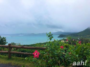 太平洋と東シナ海が一望できる玉取崎展望台にて。