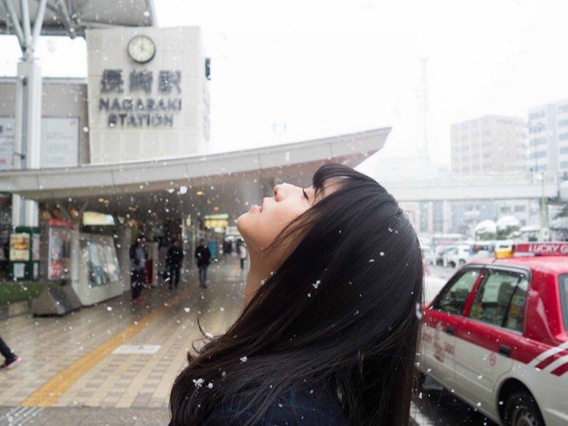 長濱ねる 雪 2018 冬 長崎駅前 1
