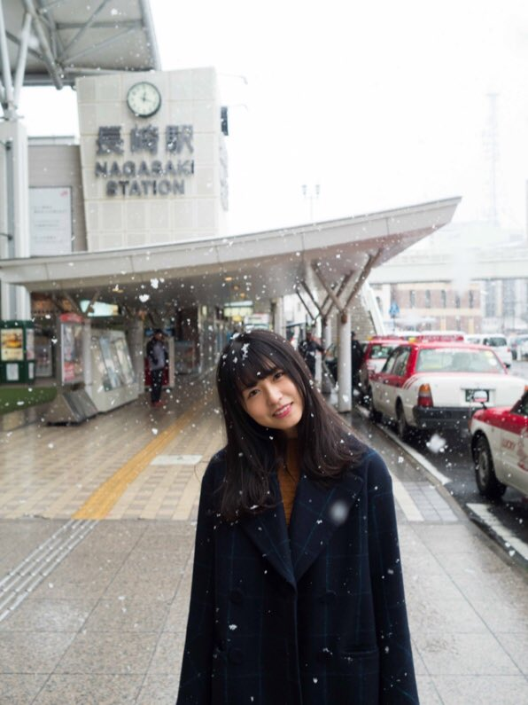 長濱ねる 雪 2018 冬 長崎駅前 2