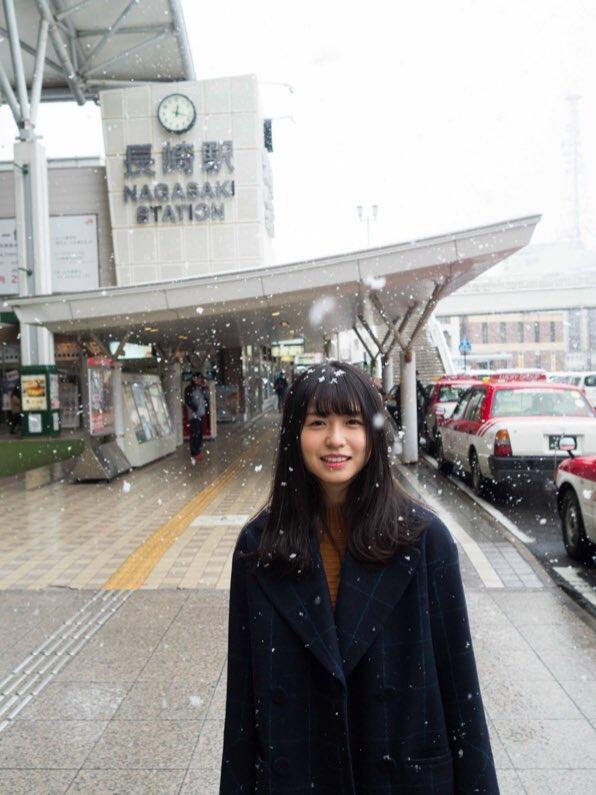 長濱ねる 雪 2018 冬 長崎駅前 3