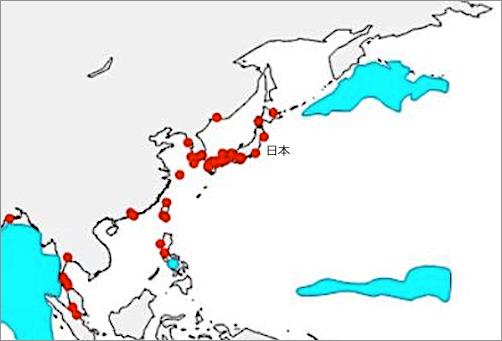 赤い部分は沿岸がデッドゾーンと化している海域がある部分