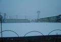 裏の畑の降雪