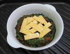 ほうれん草のミートソースチーズ焼き 調理④