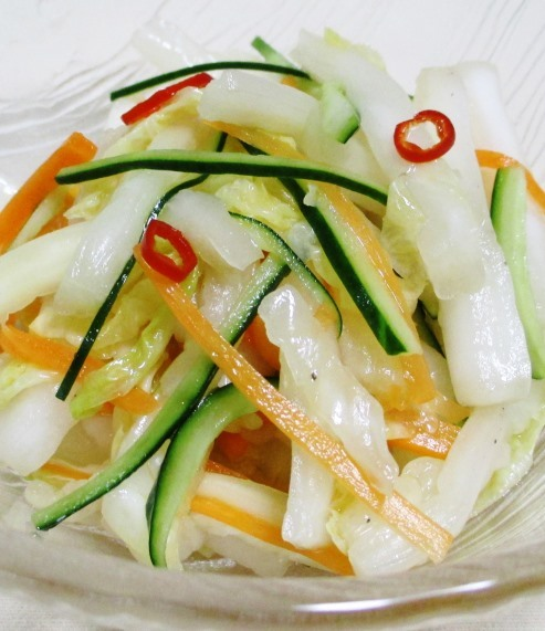 白菜の芯の甘酢漬け 大