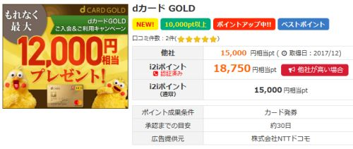 i2iポイントでdカードゴールドが最高額