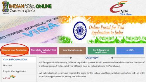 インドビザ_Regular Visa Applicationを選択