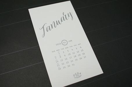 180105活版印刷カレンダー1月