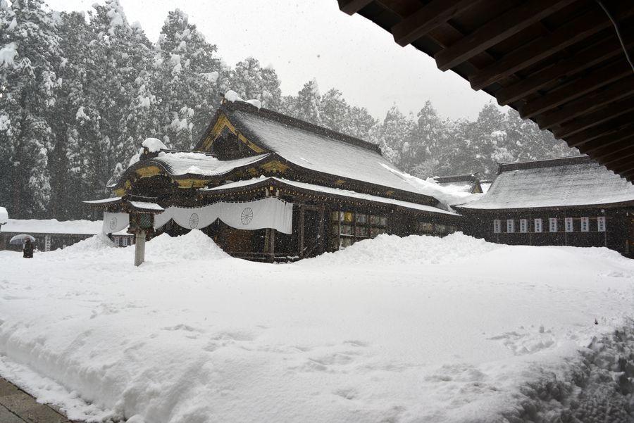 大雪の弥彦神社-1