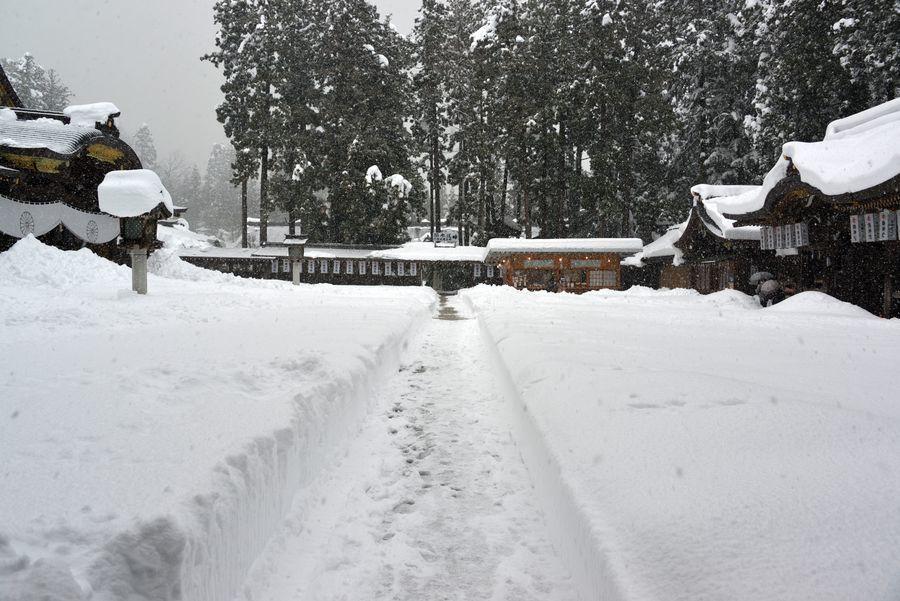 大雪の弥彦神社-3