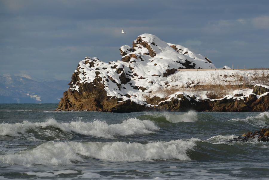 雪の海岸 岩-6