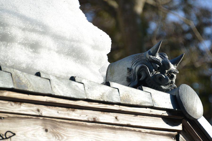 国上寺 残雪-6