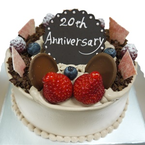 結婚記念日お祝い20周年ケーキ チョコケーキ