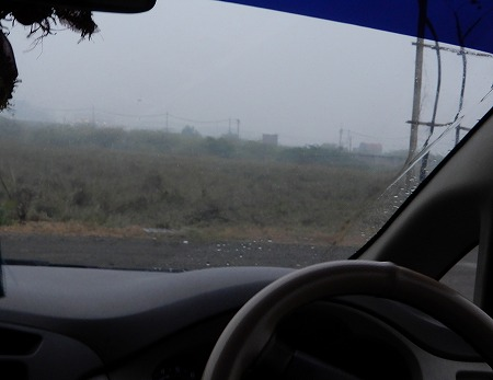 雨で霞んで・・・