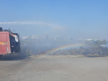 虹が見えました!