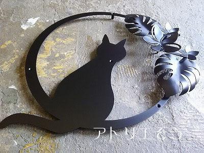猫+プルメリア+モンステラのステンレス製妻飾り