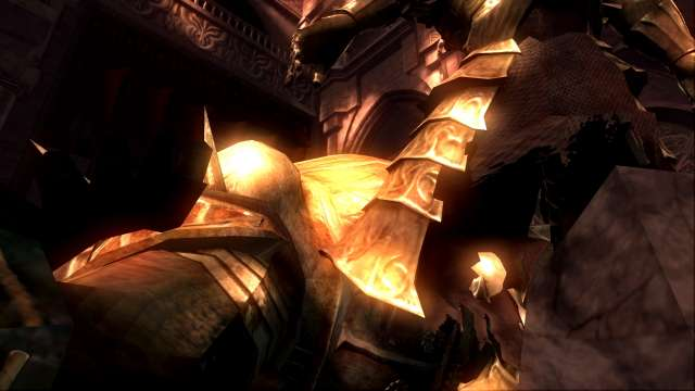 PC 版 DARK SOULS with ARTORIAS OF THE ABYSS EDITION(Prepare To Die Edition) DSfix スクリーンショット、エリア アノール・ロンド(Anor Londo) エリアボス 処刑者スモウ撃破後、竜狩りオーンスタイン巨大化シーン