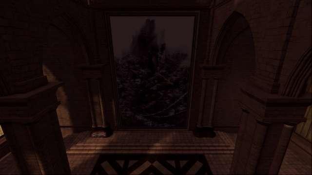 PC 版 DARK SOULS with ARTORIAS OF THE ABYSS EDITION(Prepare To Die Edition) DSfix スクリーンショット、エリア アノール・ロンド(Anor Londo) 大広間、おかしな人形を持っていればエリア エレーミアス絵画世界へ移動