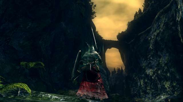 PC 版 DARK SOULS with ARTORIAS OF THE ABYSS EDITION(Prepare To Die Edition) DSfix スクリーンショット、エリア 王家の森庭(Royal Wood) 黒竜カラミット方面